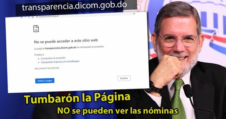 Gobierno tumba página del DICOM para evitar pueblo vea las nóminas
