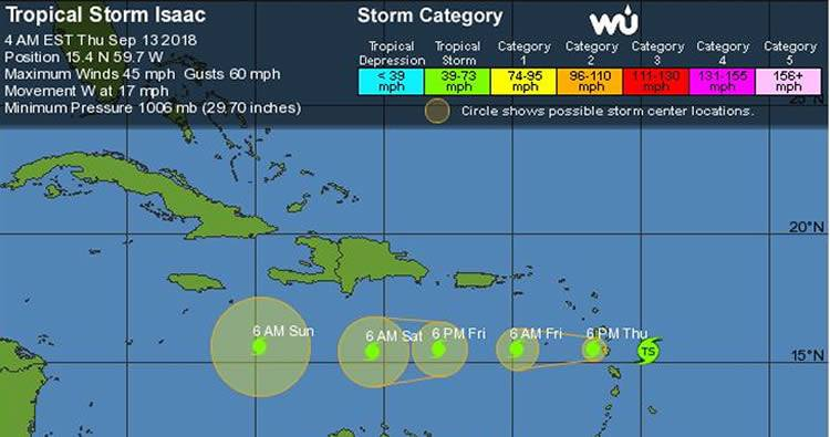 Isaac llega esta mañana a las Antillas Menores; vaguada provocará aguaceros en RD