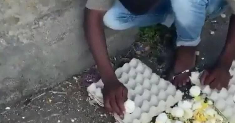 VIDEO: Joven se hace pasar por vendedor de huevos para estafar personas en los semáforos