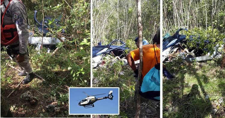 Recuperan víctimas de accidente de helicóptero