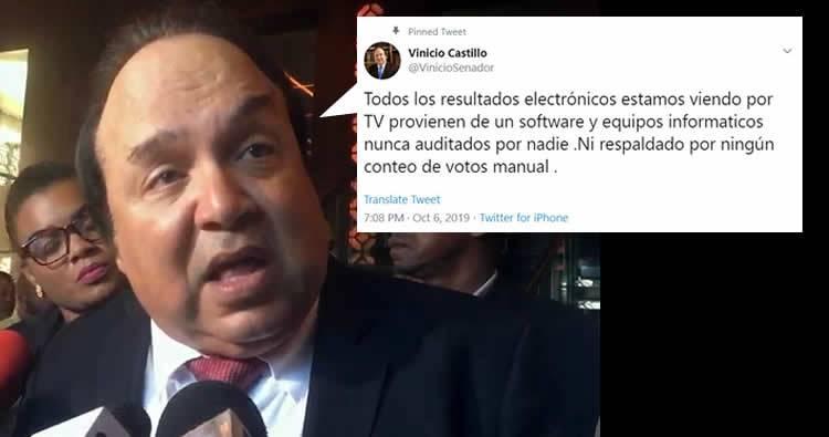 Vinicio Castillo: Resultados vienen de un software nunca auditados por nadie